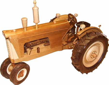 Wooden Model of a 1958 Oliver 770 Diesel tractor (Left Side View).