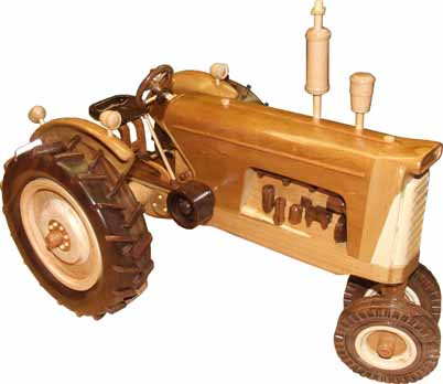 Wooden Model of a 1958 Oliver 770 Diesel tractor (Right Side View).