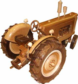 Wooden Model of a 1958 Oliver 770 Diesel tractor (Rear View).