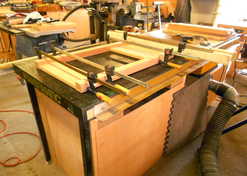 View of glued up end panel assembly.