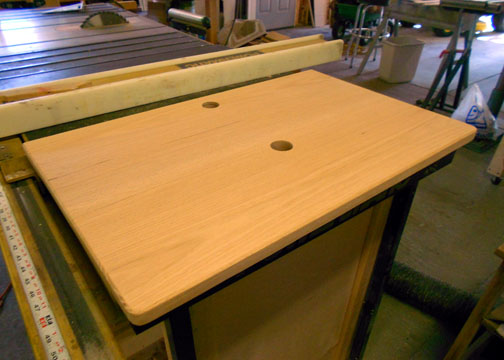 View of Vanity Top after routing the edges and drilling the holes.
