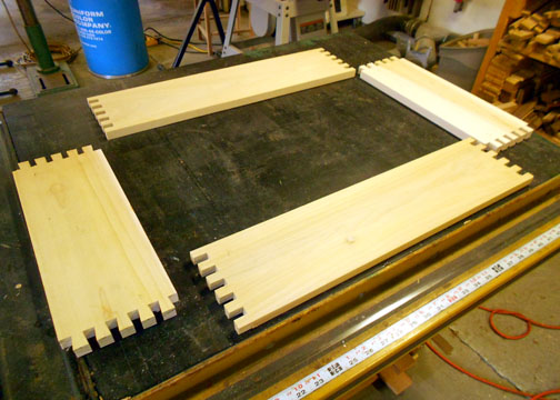 Drawer pieces laid out prior to assembly.