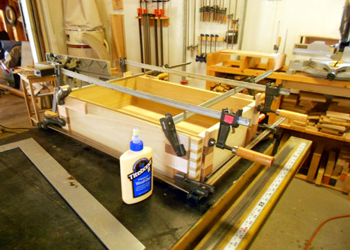 Clamped drawer after the glue up was completed.