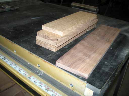 Oak side and end pieces after planing.