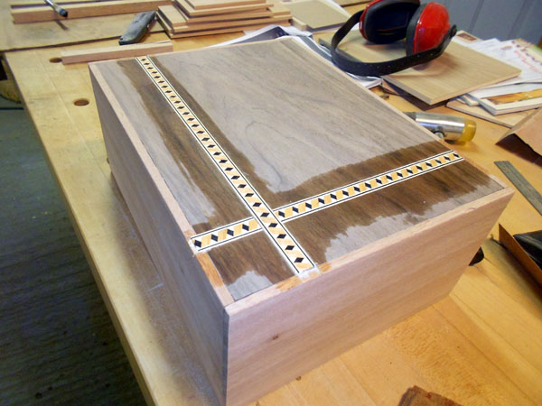 This photo shows the box after gluing in the accent strips.