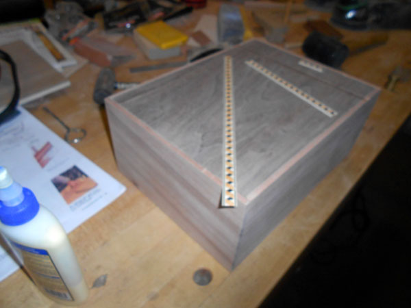 View showing accent strips laying on box top.