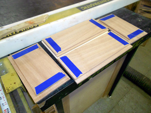 Masked dado edges prior to glueup.