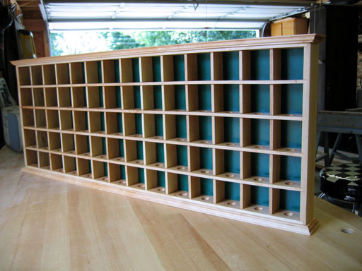 Right side view of finished golf ball display cabinet