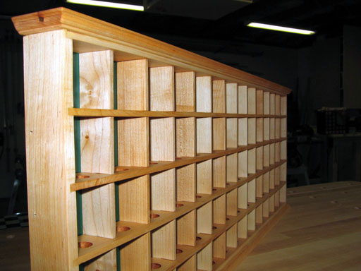 Left side view of finished golf ball display cabinet