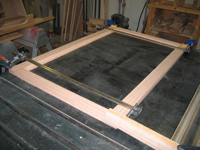 Clamped up mirror frame.