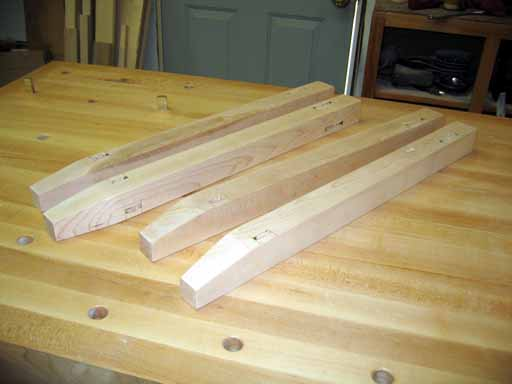 End table legs pieces showing tapers and mortises.