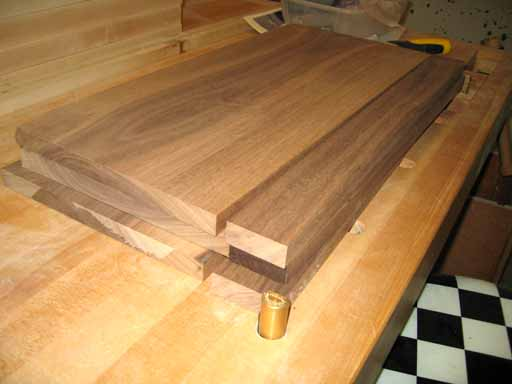 More walnut boards on my bench after planing.