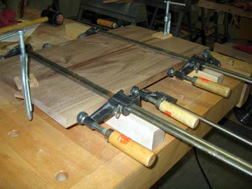 Clamped up walnut panels.
