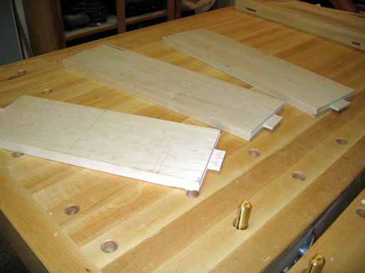 Top cross pieces showing dado cut tenons.